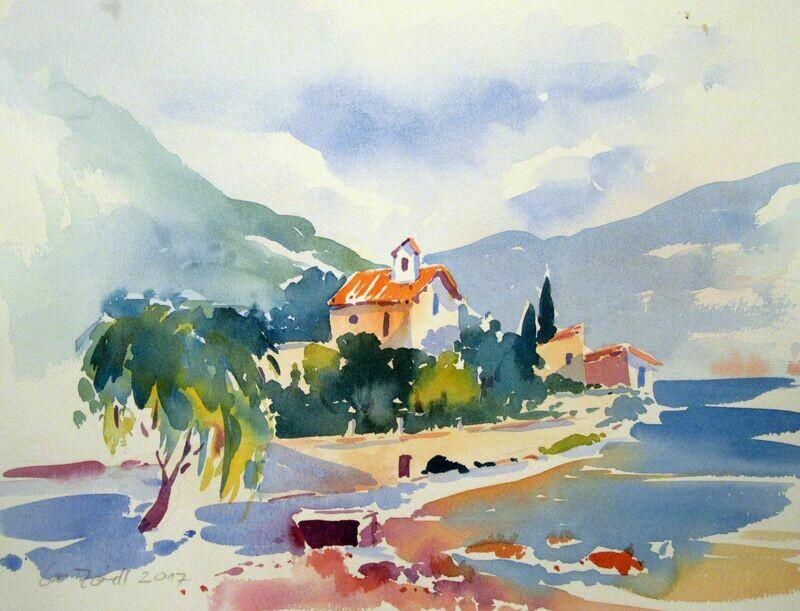 Aquarell, Alte Kirche am Gardasee