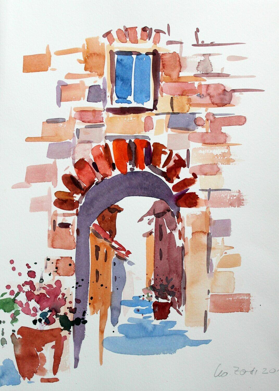 Aquarell, Gasse in der Toskana