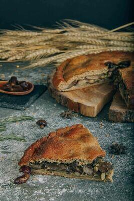 Пирог с маслятами в сливочном соусе