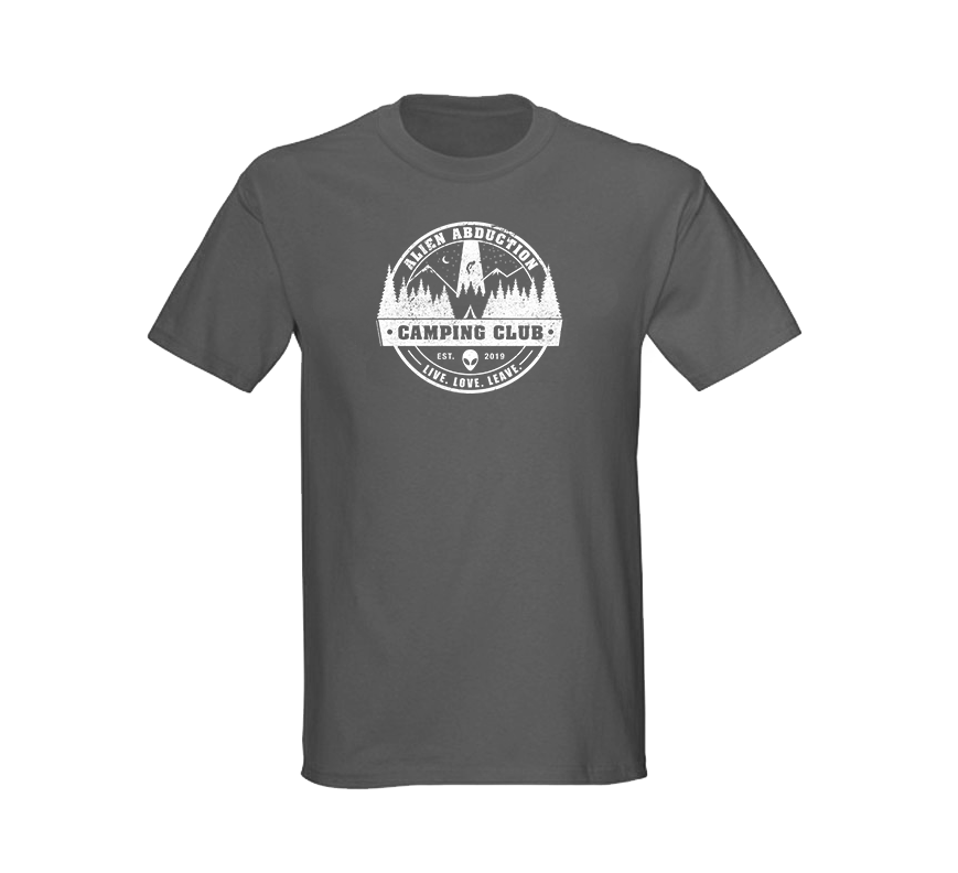 Alien Abduction Camping Club T-Shirt GREY — SCREEN PRINTED