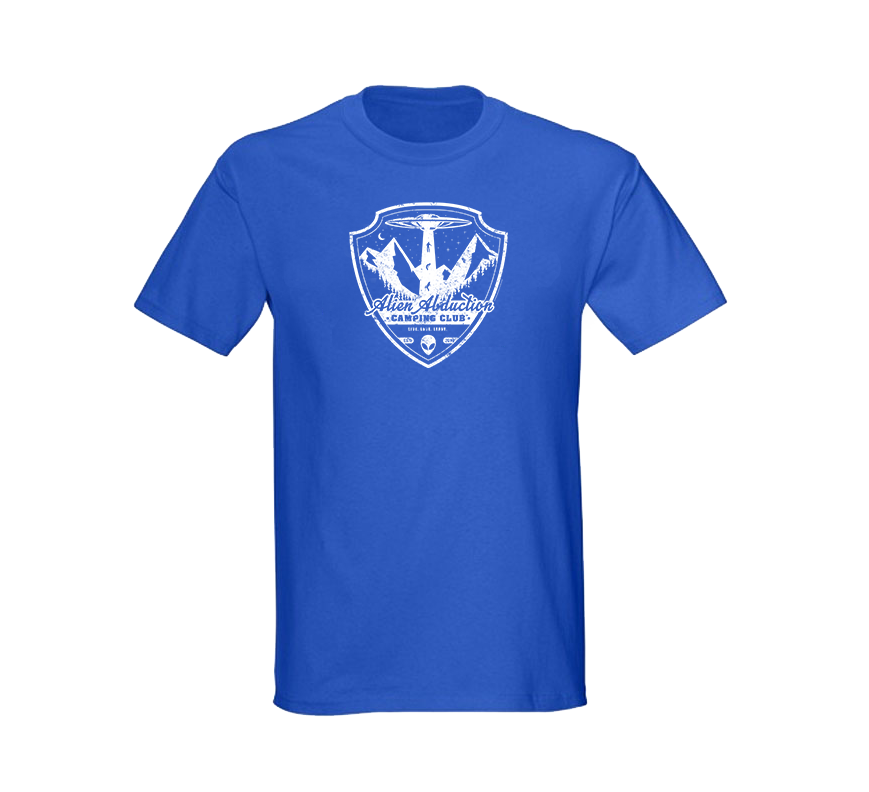 Alien Abduction Camping Club T-Shirt ROYAL BLUE — SCREEN PRINTED