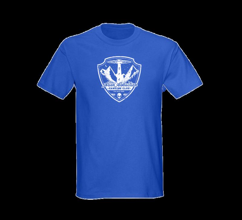 Alien Abduction Camping Club T-Shirt ROYAL BLUE — SCREEN PRINTED