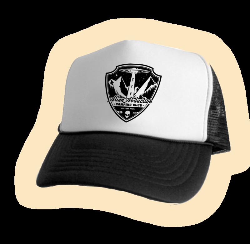 Alien Abduction Camping Club Trucker Hat BLACK 7 WHITE 1