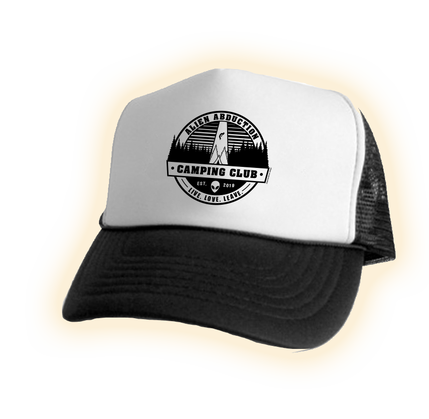 Alien Abduction Camping Club Trucker Hat BLACK & WHITE 2