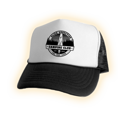 Alien Abduction Camping Club Trucker Hat BLACK & WHITE 2