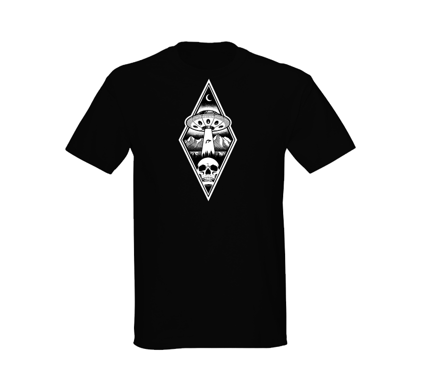 Alien Abduction Camping Club T-Shirt BLACK DIAMOND — SCREEN PRINTED