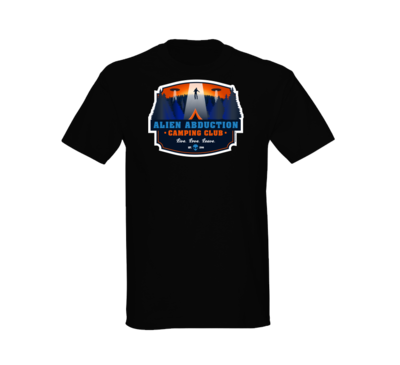 Alien Abduction Camping Club T-Shirt COLOR BLACK — SCREEN PRINTED