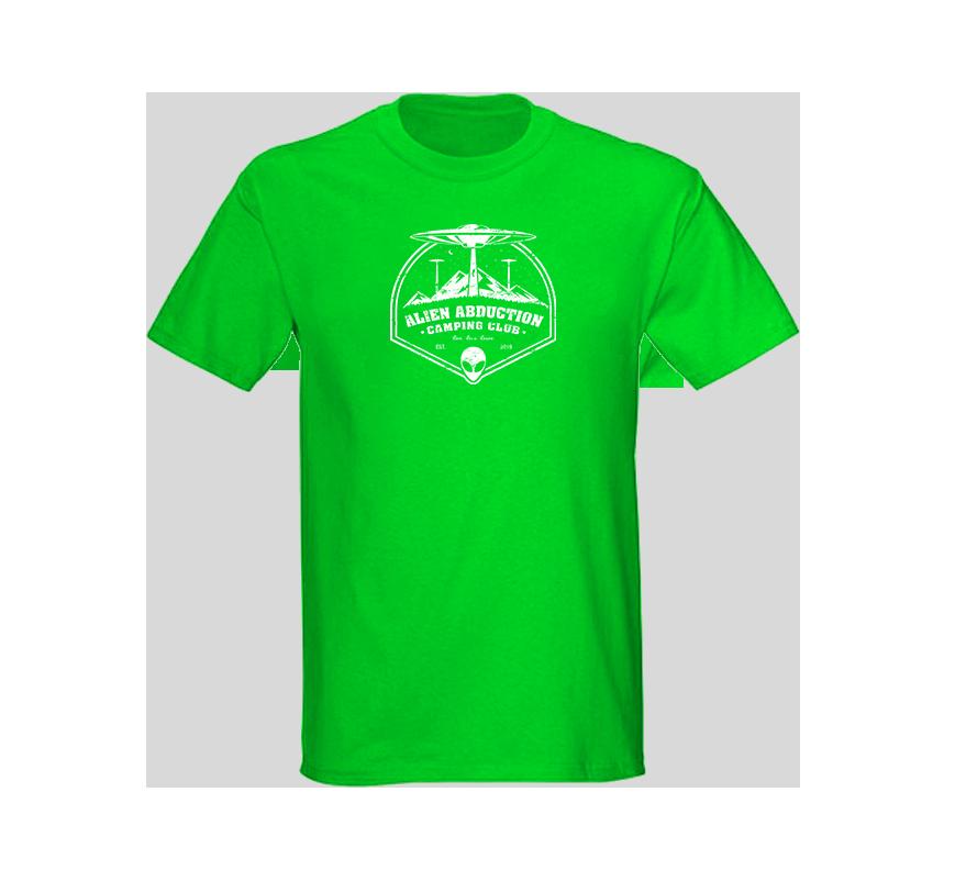 Alien Abduction Camping Club T-Shirt GREEN MOUNTAIN — SCREEN PRINTED