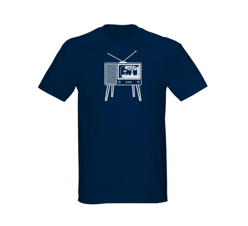 Alien Abduction Camping Club T-Shirt RETRO TV — SCREEN PRINTED