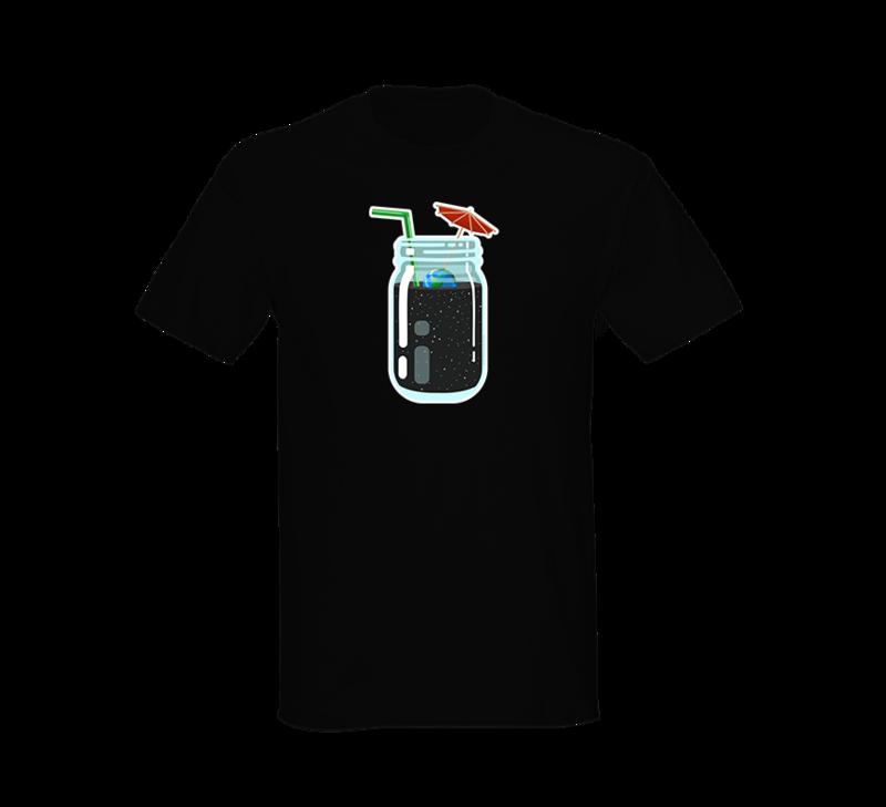 Alien Abduction Camping Club T-Shirt BLACK MASON JAR — SCREEN PRINTED
