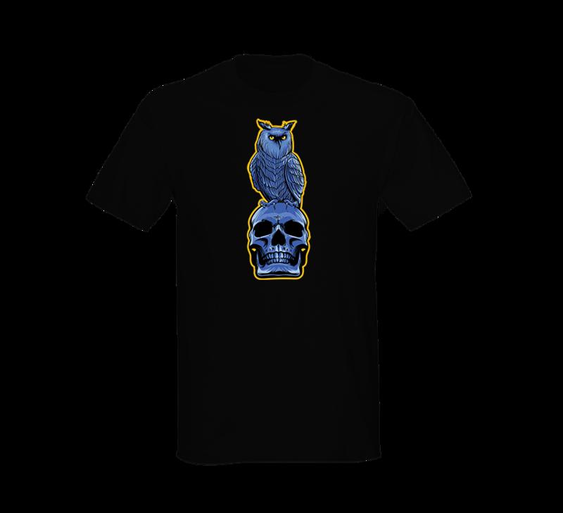 Alien Abduction Camping Club T-Shirt OWL & SKULL — SCREEN PRINTED