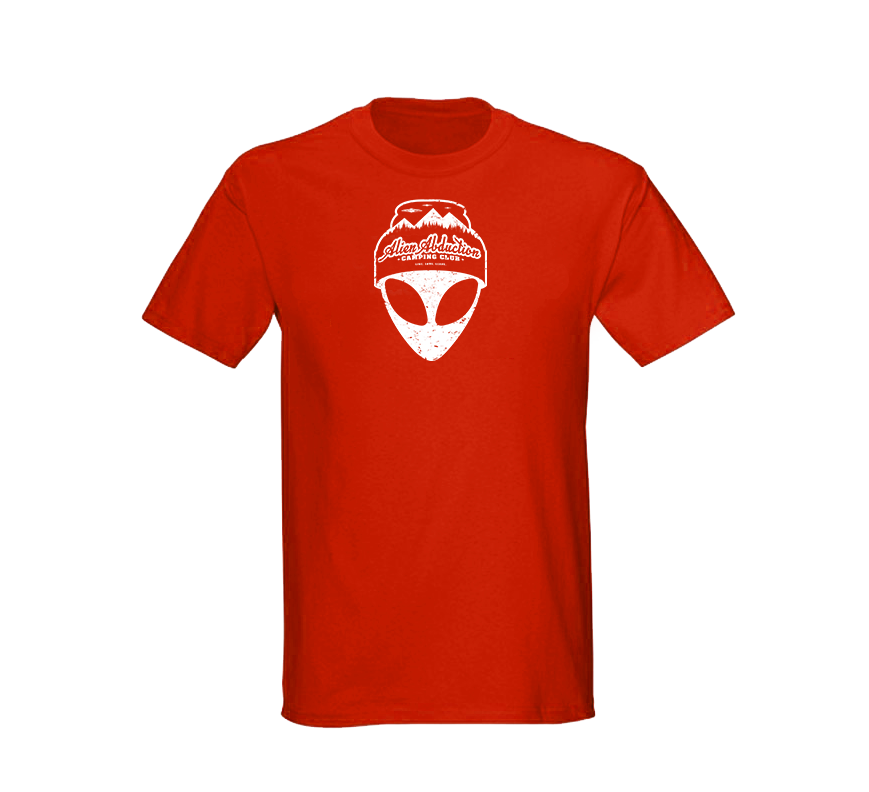 Alien Abduction Camping Club T-Shirt RED — SCREEN PRINTED