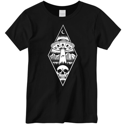 LADIES Alien Abduction Camping Club T-Shirt BLACK DIAMOND — SCREEN PRINTED