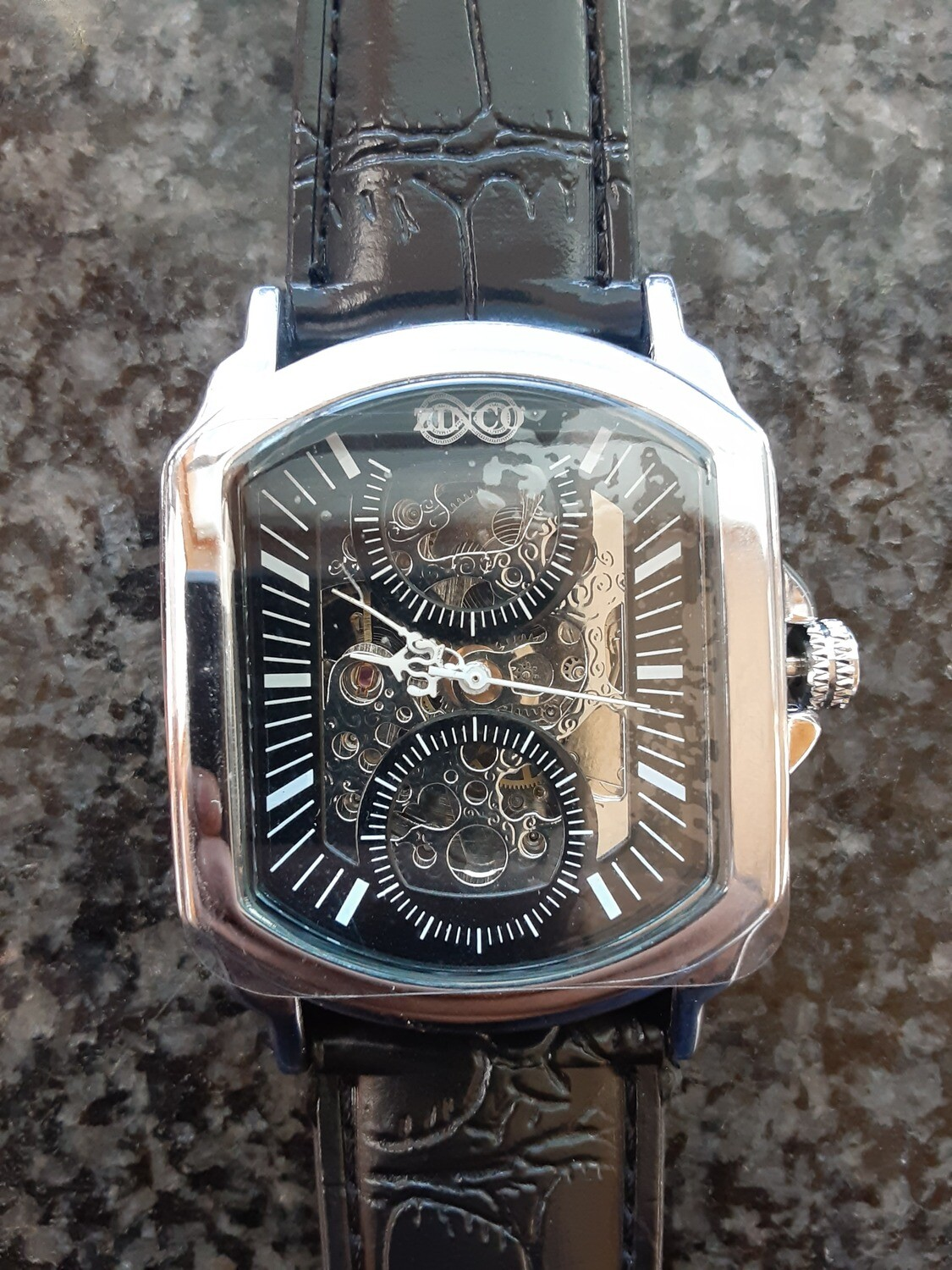 Black Silver Mens Automatic Mechanical Watches Luxury Full Steel Men Gold Skeleton Male S