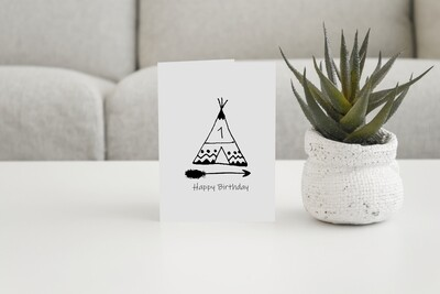 Personalised Boys Tipi Birthday Card or Party Invites.