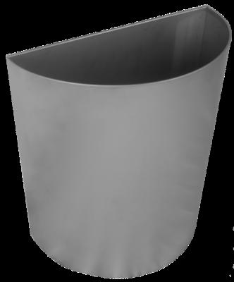 Abfallbehälter halbrund für Wandmontage / Edelstahl matt