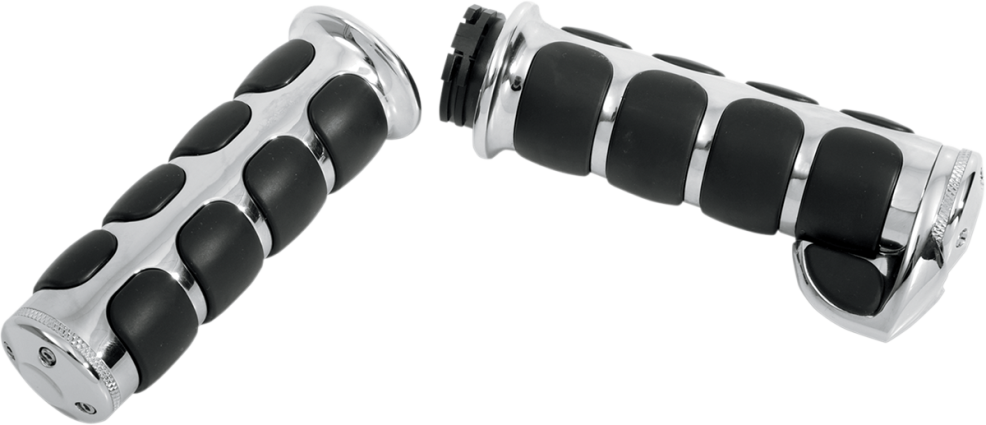 Kuryakyn Chrome Premium ISO-Grips Cable w/Throttle Boss, 82-Up Harley (6212, 0630-0182)