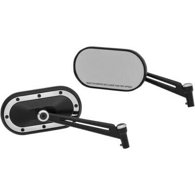 Kuryakyn Black/Chrome Mirrors Heavy Industry, Harley (1766, 0640-1092)