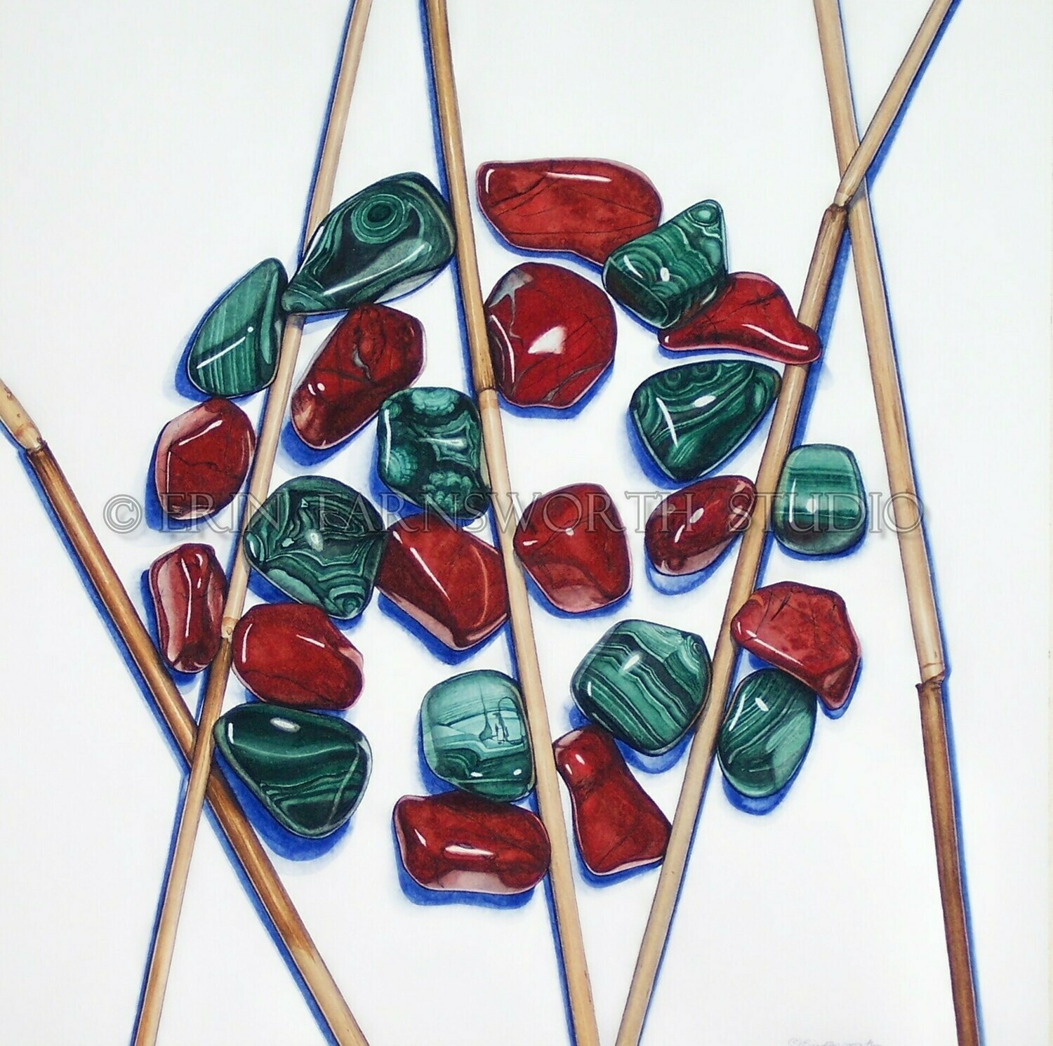 """""""Malachite, Reeds and Red Jasper"""" 11x17 limited edition print"""