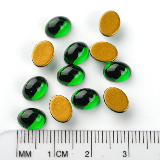 #2190/4 Medium Emerald Oval Cabochon 8x6mm (12 pcs)