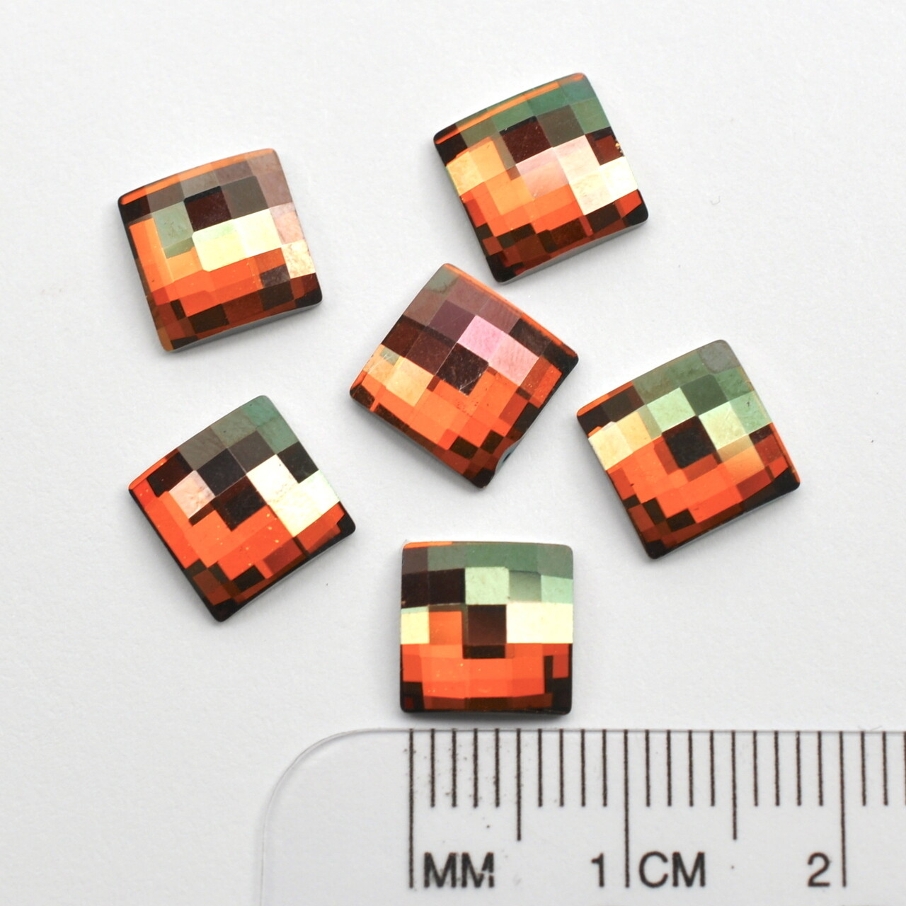 #2493 Crystal Copper Chessboard Square 8mm (6 pcs) HF