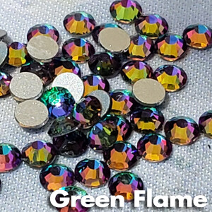 Green Flame - KiraKira Glass Rhinestones by CrystalNinja