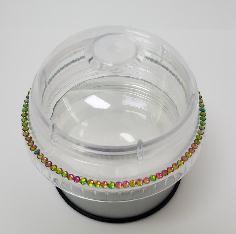 20oz KIRAKIRA Glass Rhinestones, Dome Lid, with CLEAR Cup and Straw. Rainbow 1 row Trim
