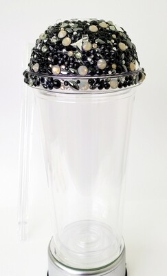 20oz Swarovski Crystal, Dome Lid, with CLEAR Cup and Straw. BlackMix
