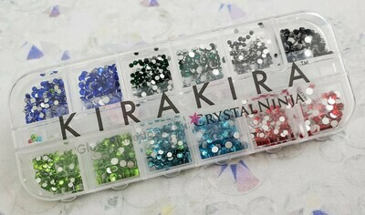 KiraKira Assortment 1620pc. Box6: Jet, Lt. Siam, Emerald, Peridot, Sapphire, Aqua