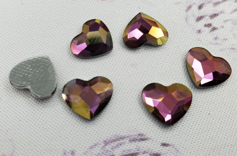 6pc. only 2808 HF 10mm HEARTS Crystal Lilac Shadow Swarovski