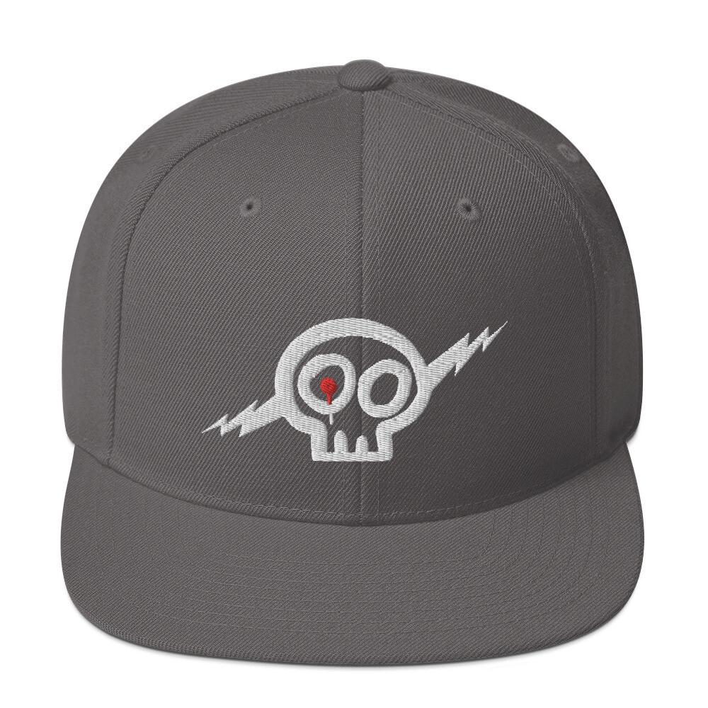 White Skully Snapback Hat -