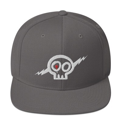 White Skully Snapback Hat -