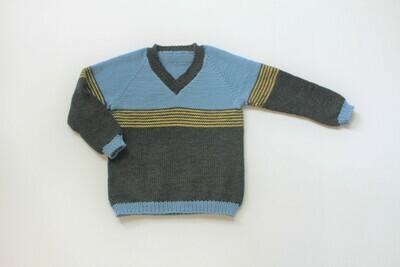 Boy's striped pullover sweater in merino wool size 2-3 years