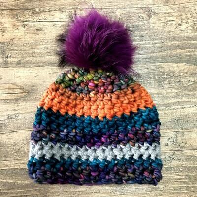 Bulky Crochet Hat with Fur Pom Pom Sample