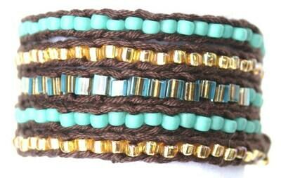 LuLi Bracelet Kit - Desert Jewel (dark brown with gold and turquoise)