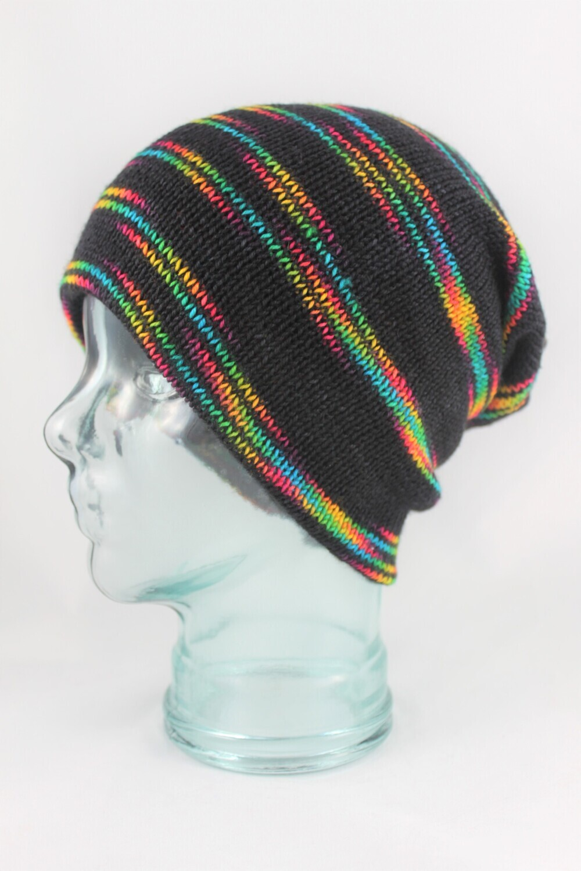 """Magic Hat"" with Rainbow Stripes on Black"
