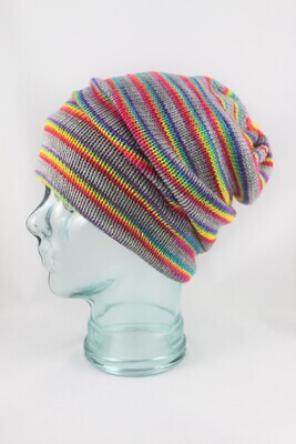 """Magic Hat"" with Rainbow Stripes on Grey"