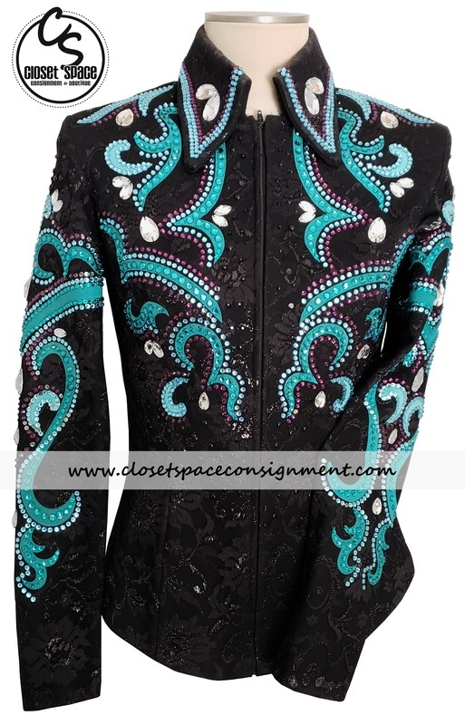 ​'Custom Couture' Black, Turquoise & Purple Jacket