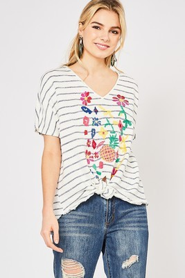 Navy Striped Cross Stitch Knot Tee