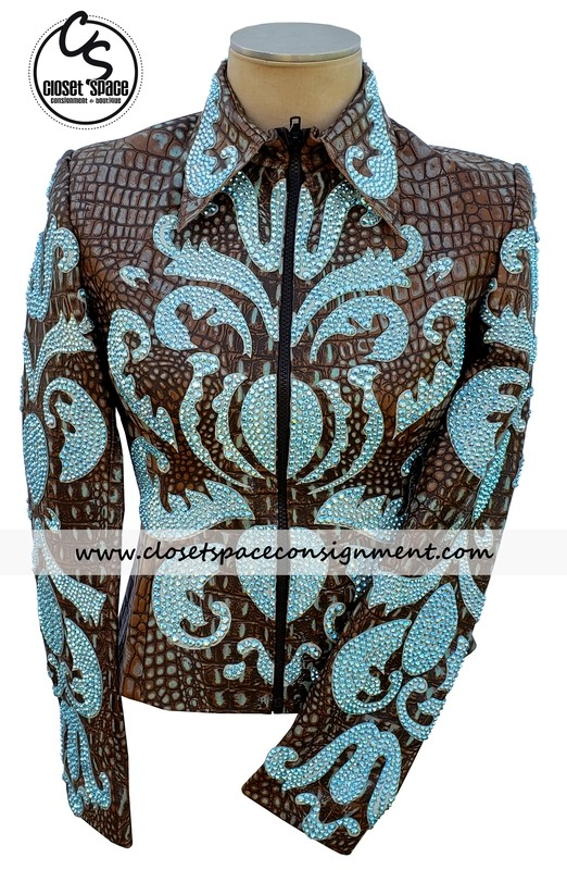 ​'Undercover' Alligator Bronze & Teal Jacket