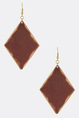 Pink Leather Rhombus Earrings