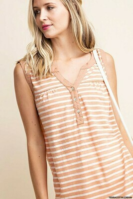 Terracotta & Cream Stripe Tank