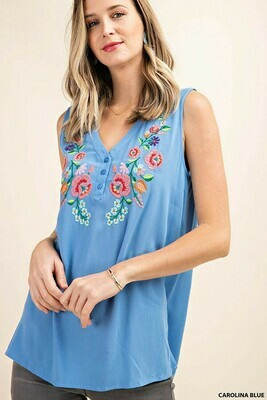 Blue Embroidered V-Neck Tank