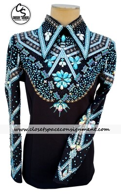 ​Black, Silver & Teal Horsemanship Top & Pants