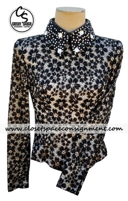 ​'Lindsey James' Black & Ivory Floral Top