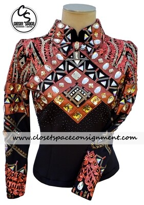 ​'Wicked Crystals by Christie' Black & Copper Top - NEW