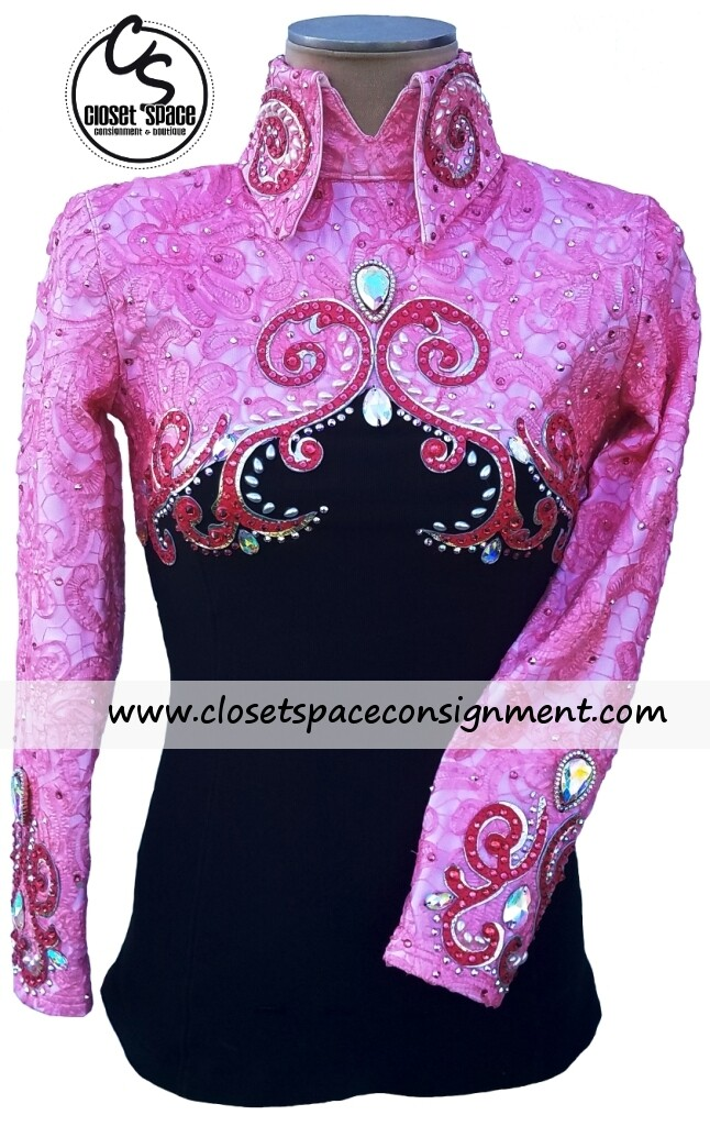 'Wicked Crystals by Christie' Black & Pink Top - NEW