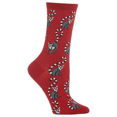 Women's Red Lemur Socks