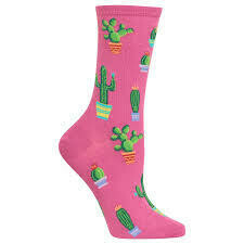 Women's Pink Potted Cactus Socks