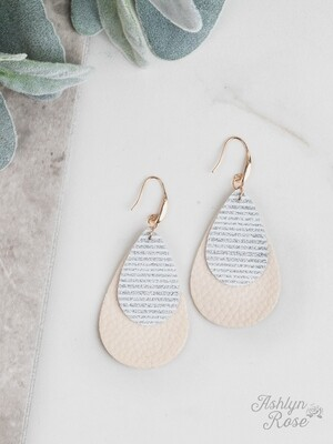 Silver Stripe Glitter on Cream Teardrop Earring